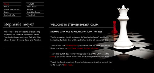 StephenieMeyer.co.uk Screenshot