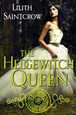 The cover the The Hedgewitch Queen, showing a woman in a white dress