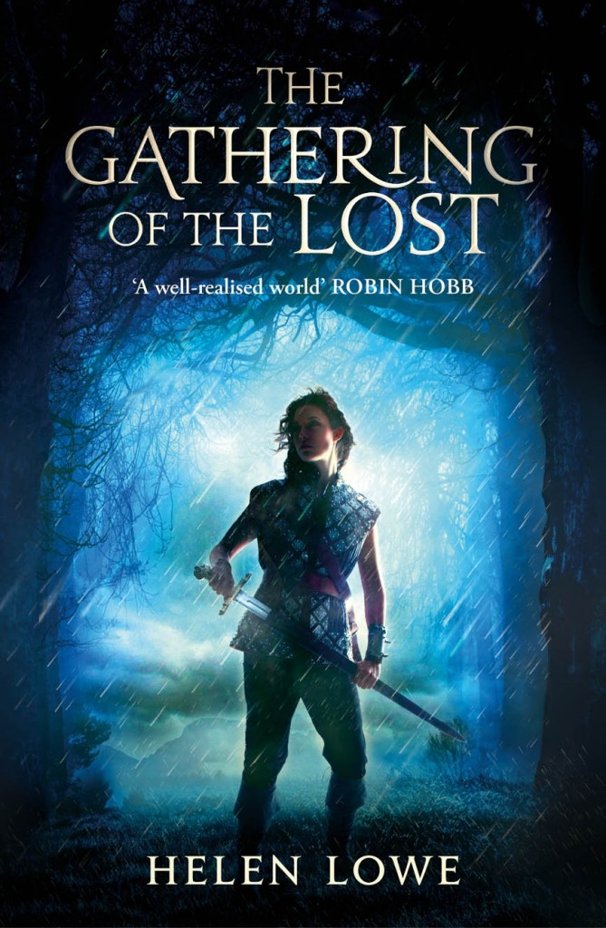 The cover for Helen Lowe's second Wall of Night novel, Gathering of the Lost. Shows a girl standing against a forest background, holding a sword, with the rain beating down and the moon shining through the trees.