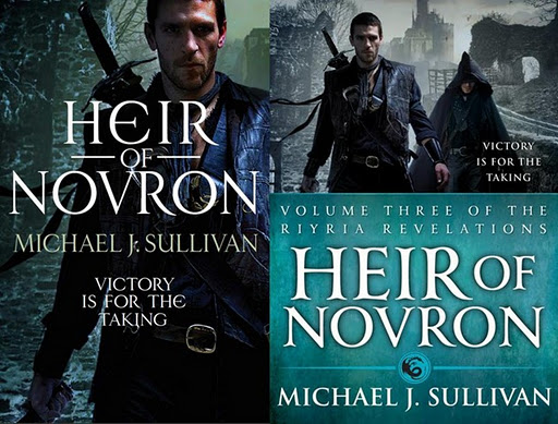 the UK and US covers for Michael J Sullivan's fantasy Heir of Novron