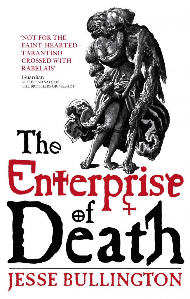 The Enterprise of Death by Jesse Bullington cover - featuring a black and white 'Death and the Maiden' motif by Niklaus Manuel with white background and a red title