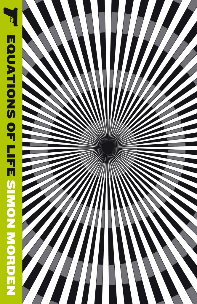 Equations of Life by Simon Morden cover - a black and white spiral optical illusion pattern with lime green spine