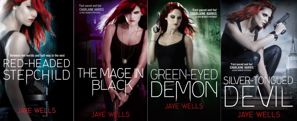 photo showing the four covers of the Sabina Kane urban fantasy books released so far