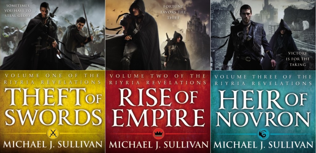 all three American covers for the fantasy series Riyria Revelations