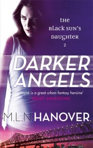 Cover for Darker Angels, featuring Jayné Heller in purple with cityscape of New Orleans