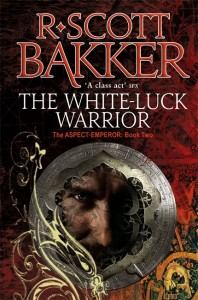 Cover for The White Luck Warrior, a man's face with a red background