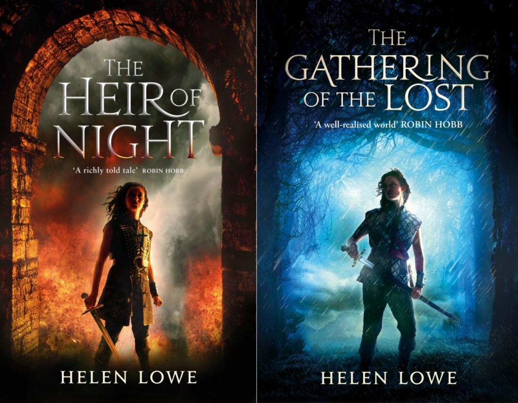 Covers of the two published books in Helen Lowe's epic fantasy series The Wall of Night