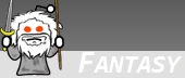 the logo for Reddit forum r/Fantasy showing the Reddit logo dressed up as Gandalf!