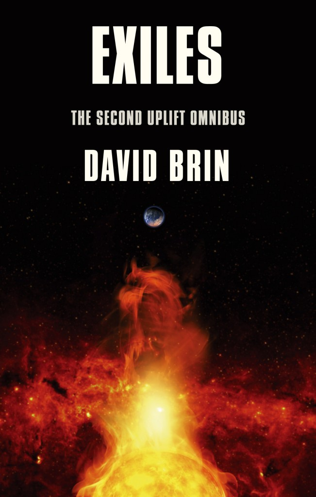 The cover for EXILES: The Second Uplift Trilogy by David Brin (containing BRIGHTNESS REEF, INFINITY'S SHORE and HEAVEN'S REACH)