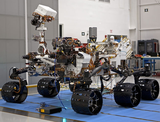 "A photo of NASA's Mars Curiosity rover: This file is in the public domain because it was created by NASA. NASA copyright policy states that ""NASA material is not protected by copyright unless noted""."
