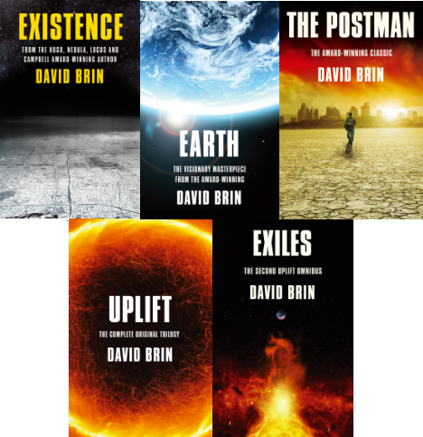 The covers for 5 new books released from the award-winnign science fiction author David Brin from Nov 2012-Jan 2013: EXISTENCE, EARTH, THE POSTMAN, UPLIFT: THE COMPLETE ORIGINAL TRILOGY and EXILES: THE UPLIFT STORM TRILOGY