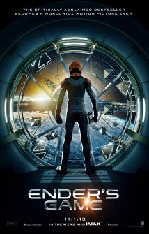 The teaser poster for the up-and-coming Ender's Game movie, starring Harrison Ford and Asa Butterfield, and based ont he award-winnign science fiction novel by Orson Scott Card