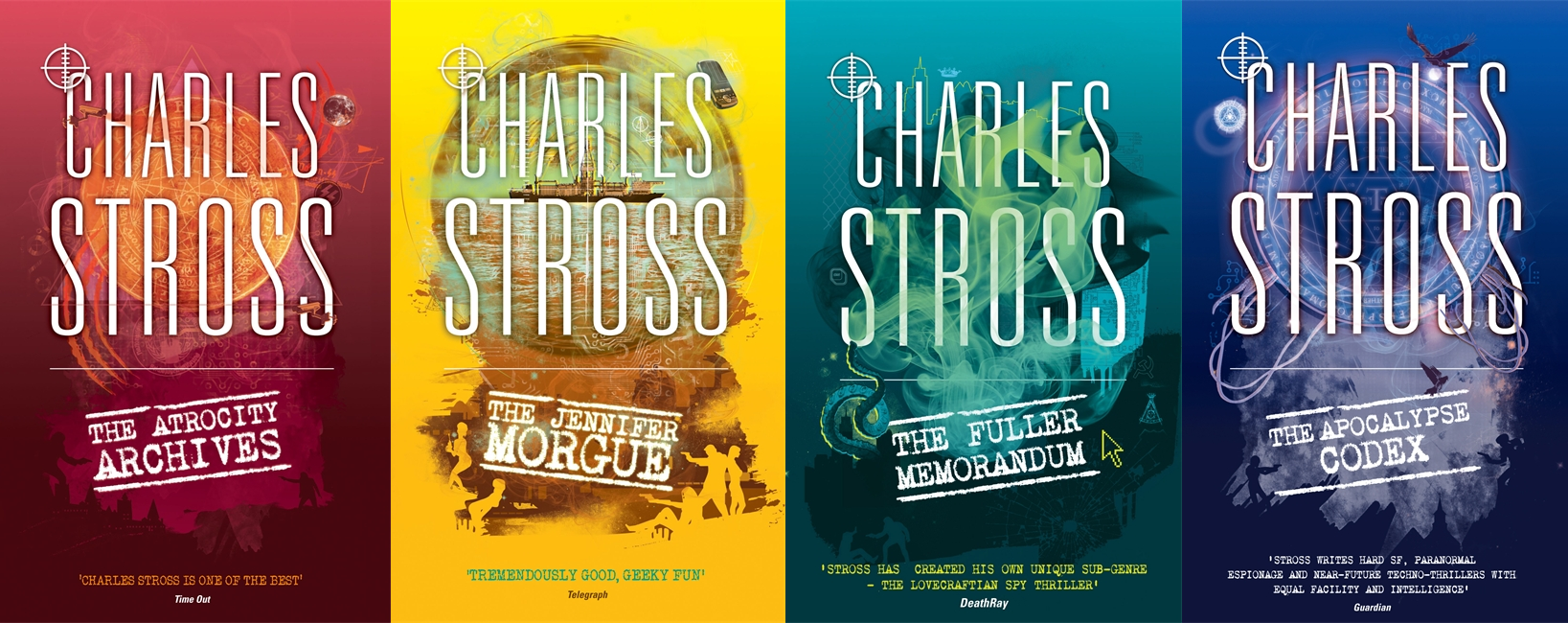 The covers for supernatural spy series The Laundry Files by Charles Stross