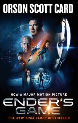 Book cover for the Ender's Game film tie-in edition by Orson Scott Card - due to be a movie starring Harrison Ford, Ben Kingsley and Asa Butterfield