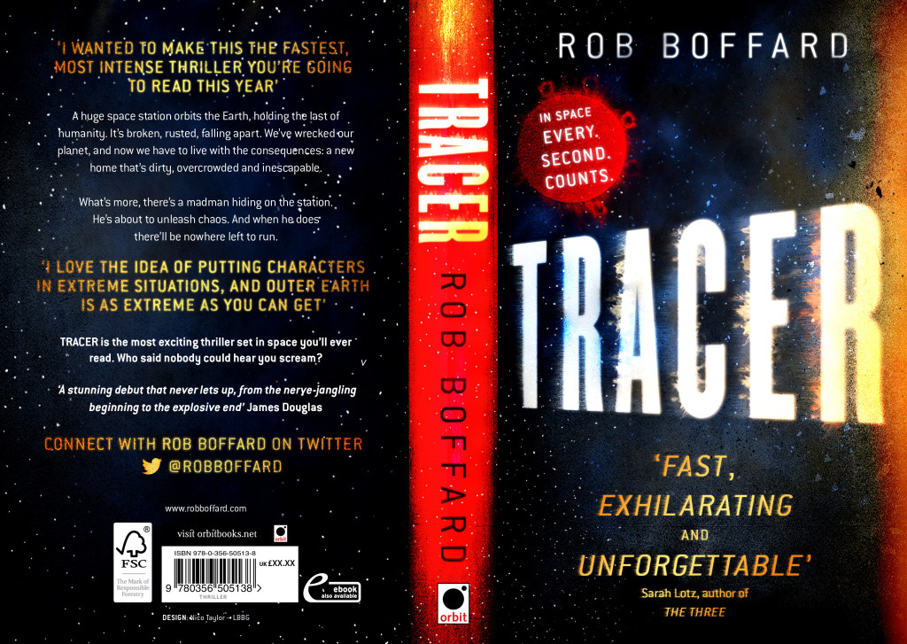 Full cover for TRACER by Rob Boffard, and science fiction thriller set in space