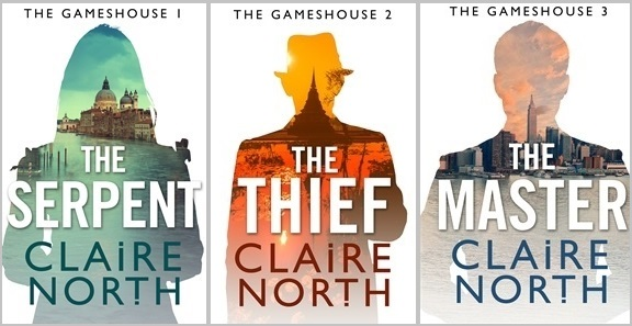 Covers for the Gameshouse novellas The Serpent, The Thief and The Master by Claire North, author of thw First Fifteen Lives of Harry August