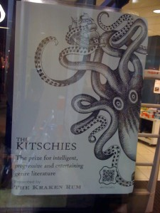The poster advertising the Kitschies' steampunk evening, featuring a giant squid logo