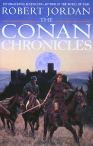 Front cover for The Conan Chronicles Volume One, showing Conan riding a horse with a castle in the background