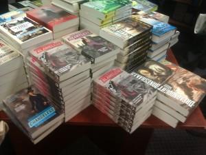 a pile of steampunk novels at Blackwells
