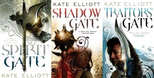the three covers for Kate Elliott's Crossroads trilogy of fantasy novels, Spirit Gate, Shadow Gate and Traitor's Gate