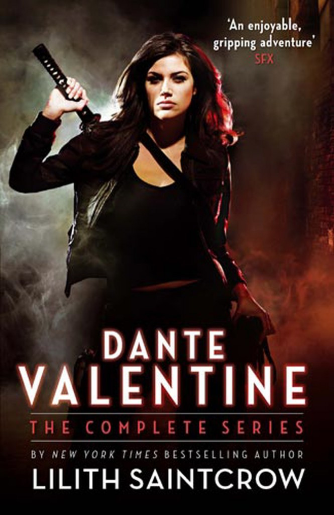 The cover to the Dante Valentine Omnibus by Lilith Saintcrow, a girl in a leather jacket stands with a sword