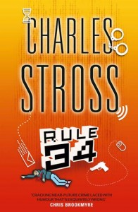 The cover to Charles Stross's book Rule 34, featuring a gun, a computer mouse, a pair of handcuffs and a pixelated dead cartoon figure.