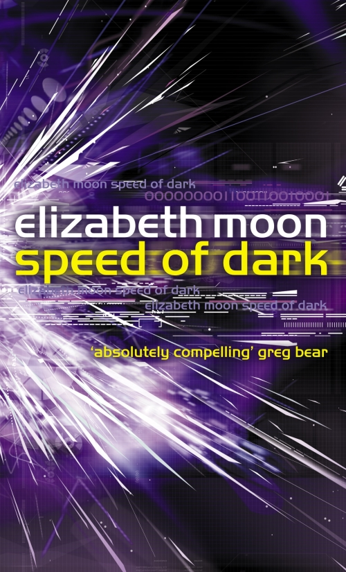 the cover for Elizabeth Moon's novel Speed of Dark, with futuristic lights and computer symbols on a purple background