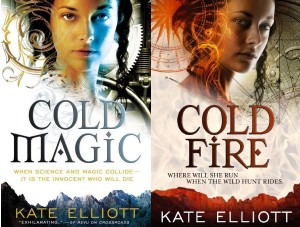 the two covers for the fantasy novels Cold Magic and Cold Fire, by Kate Elliott