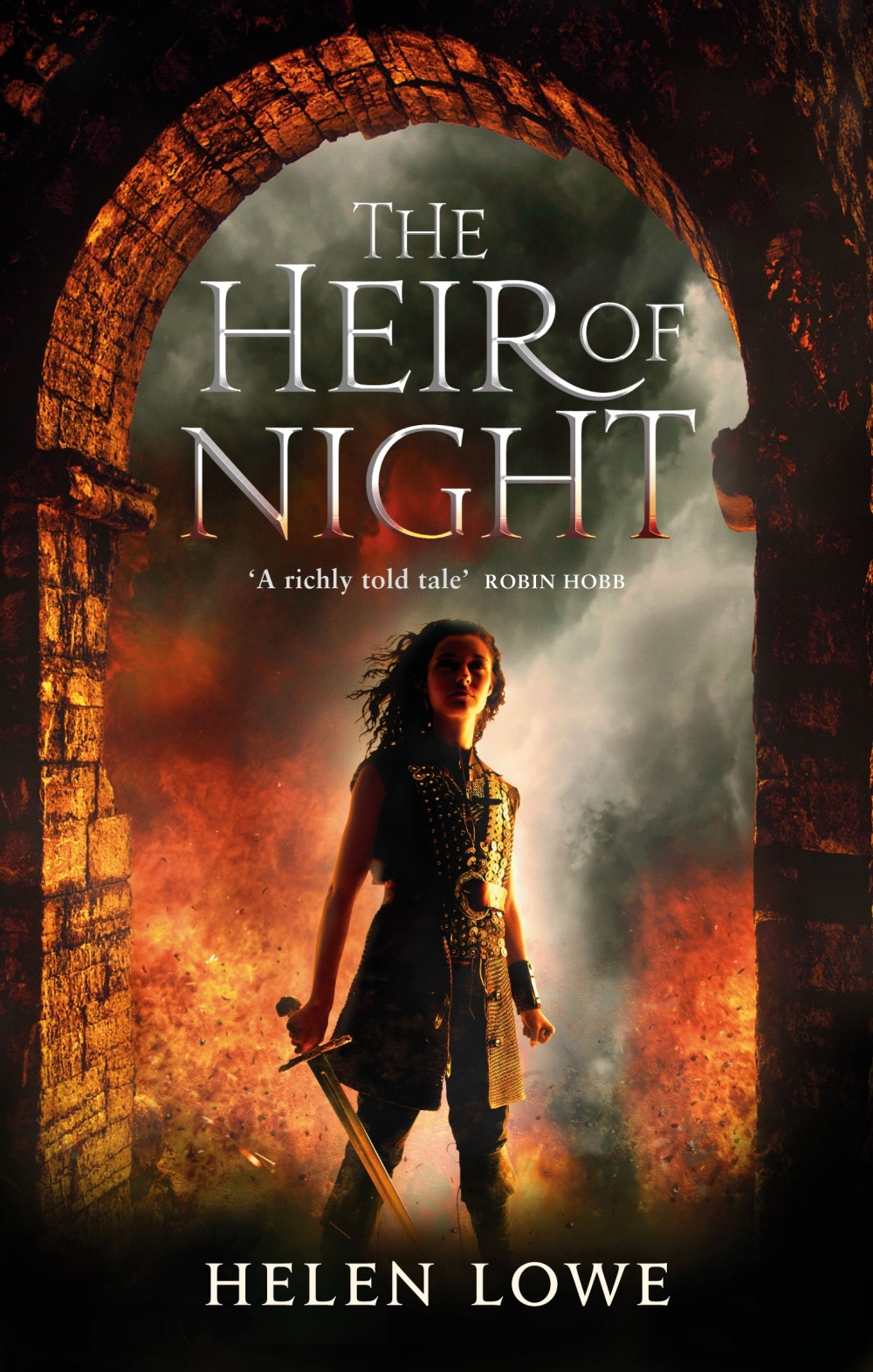 the cover for the heir of night - a girl stands in a castle doorway, surrounded by fire and smoke