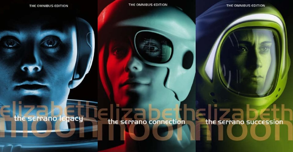 the three covers for the Serrano Legacy sci-fi series by Elizabeth Moon