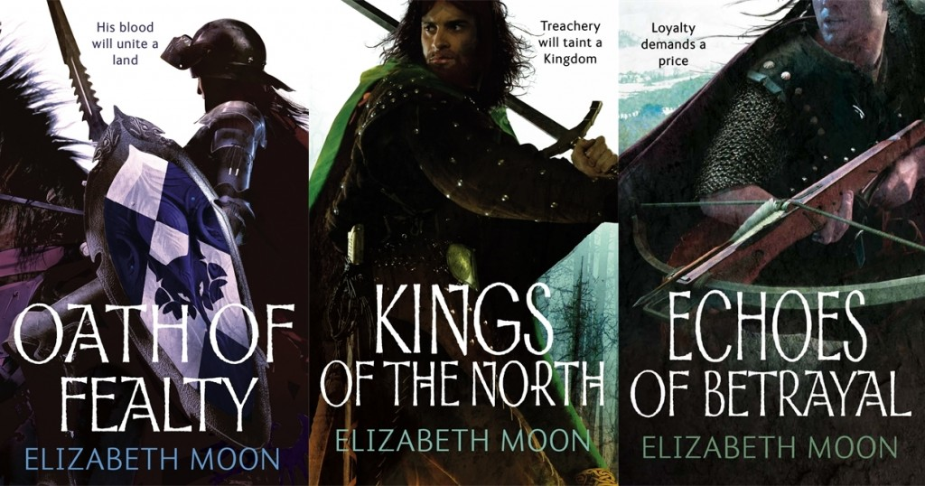 the three covers for the Paladin's Legacy epic fantasy series by Elizabeth Moon
