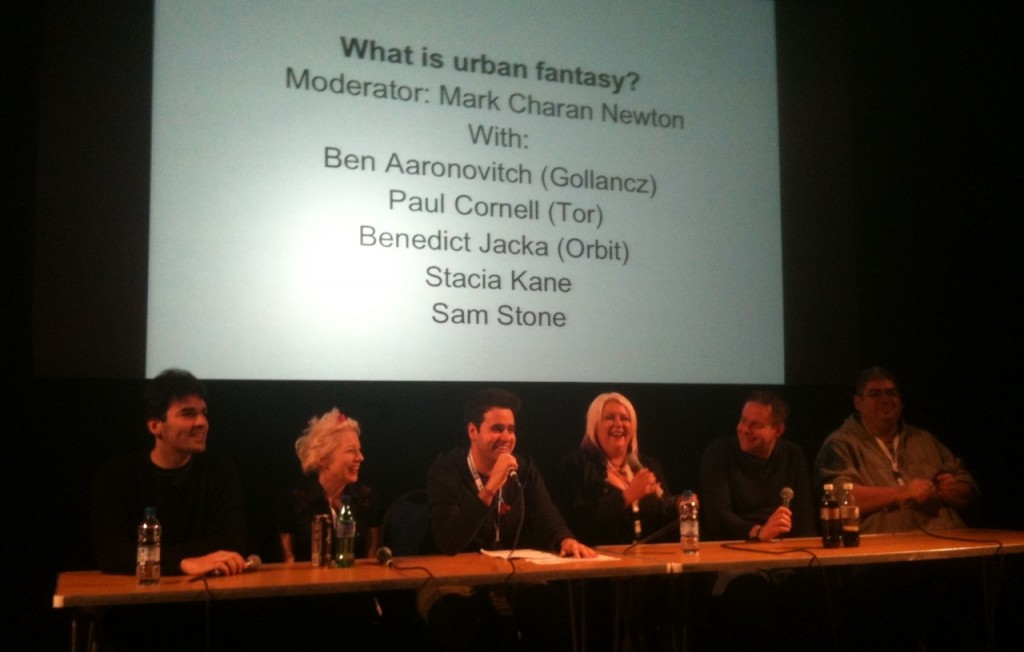 Benedict Jacka (far left) during his panel on urban fantasy