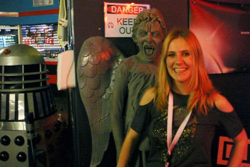 Orbit's Jenni Hill with one of Dr Who's uber-scary Weeping Angels. Fortunately, this one didn't come to life after the photo was taken!