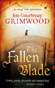 Cover for The Fallen Blade, a hooded figure on a bridge