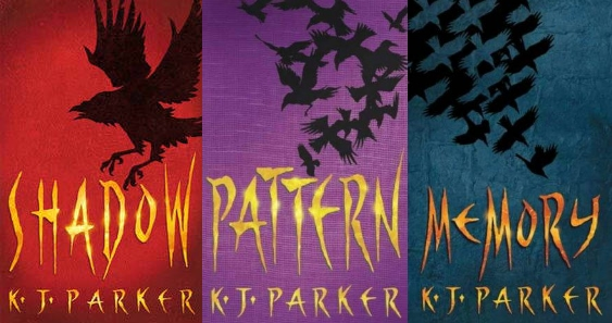 The three covers for the Scavenger trilogy of fantasy novels by K. J. Parker