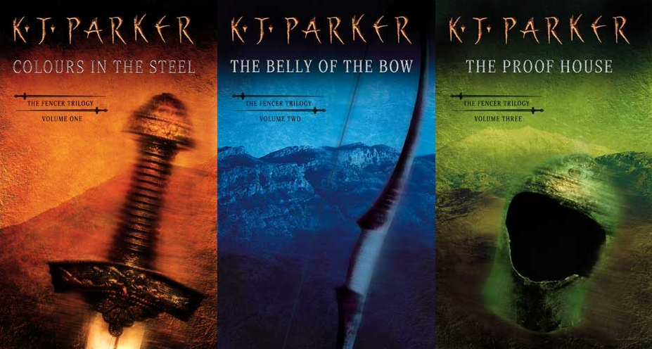 The three covers to K. J. Parker's fantasy series The Fencer Trilogy
