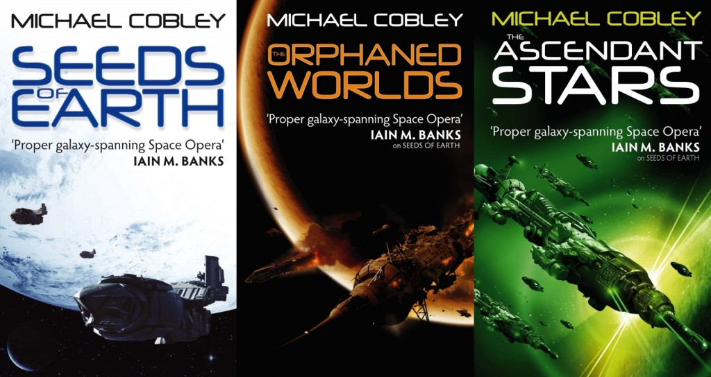 the three covers for the novels in Mike Cobley's Humanity's Fire trilogy