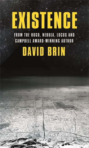 The cover for the ground-breaking science fiction novel Existence, featuring first contact, from the award-winning author of the Uplift novels, David Brin