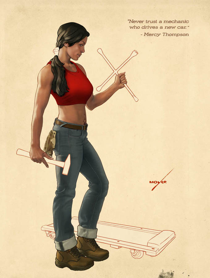 Image of Mercy Thompson, a character from Patricia Briggs' novels, featured in a literary pin-up calendar drawn by Lee Moyer and organised by Patrick Rothfuss