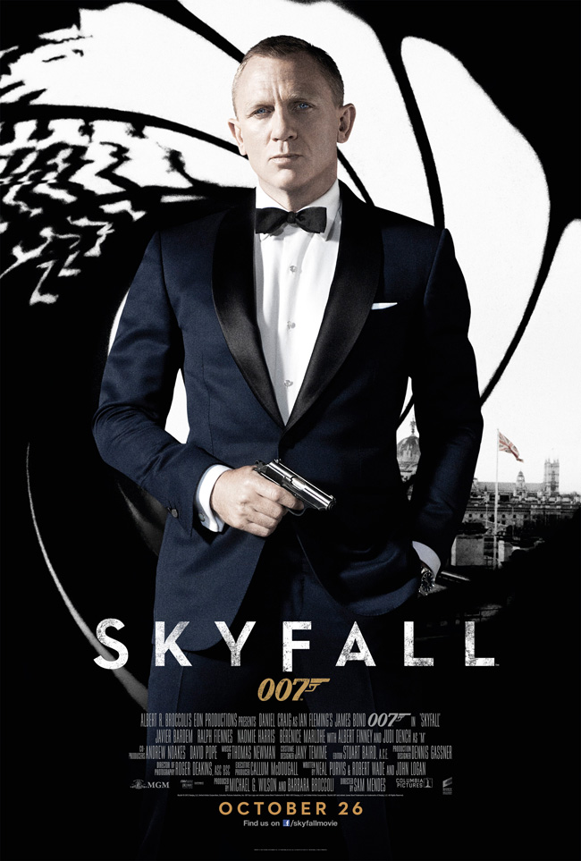 The poster for the latest Sam Mendes bond movie Skyfall, starring Daniel Craig