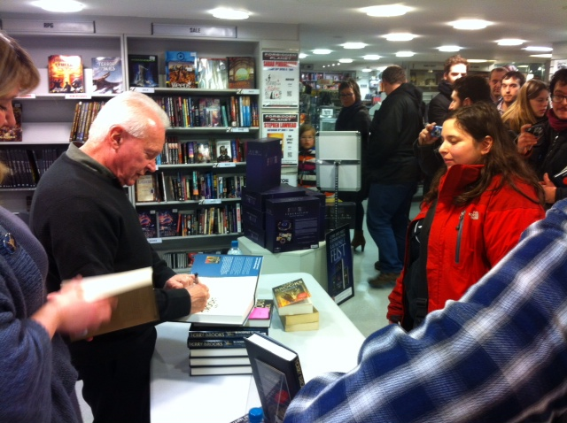 Photo of Terry Brooks signing of Bloodfire Quest at Forbidden Planet London on 3rd April 2013