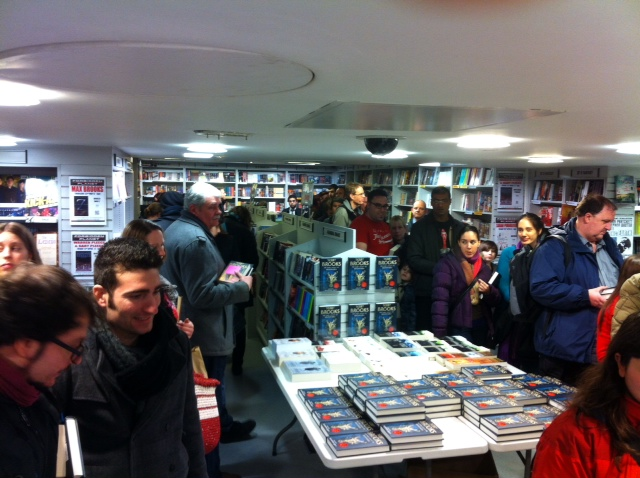 Photo of queues for Terry Brooks signing of Bloodfire Quest at Forbidden Planet London on 3rd April 2013
