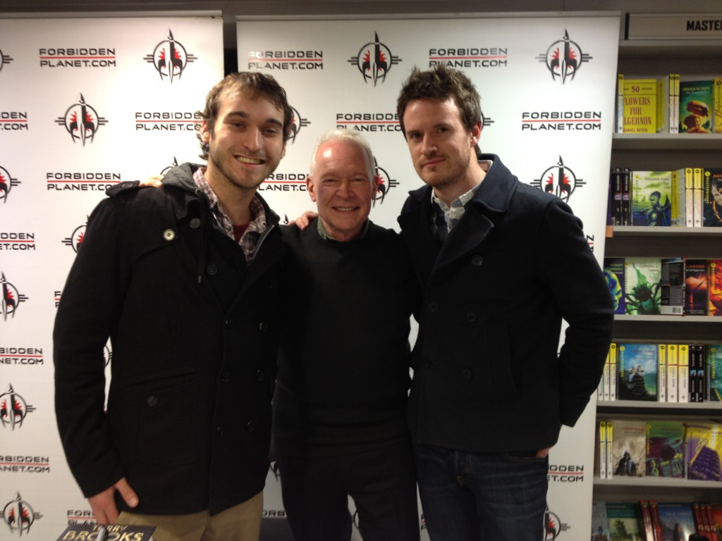 Terry Brooks at his signing at Forbidden Planet London on 3rd April 2013 with James Long of Orbit Books and Paul Wiseall of J for Jetpack