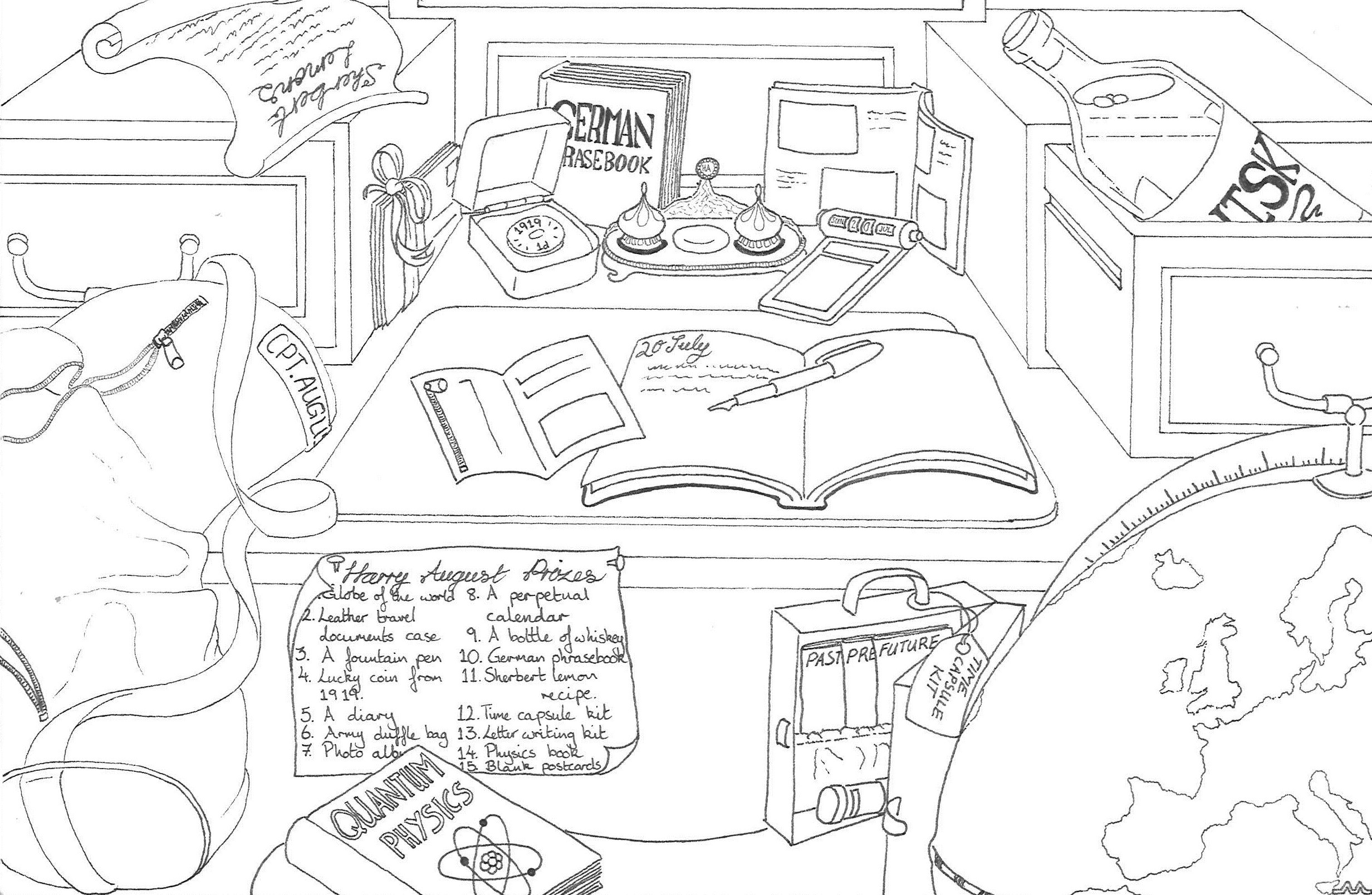 A picture of Harry August's stufy, and all the prizes within it you could win - a competition to celebrate the release of The First Fifteen Lives of Harry August by Claire North