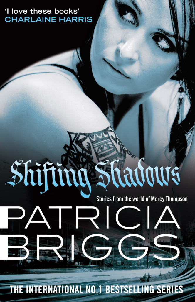 The book cover for SHIFTING SHADOWS, a collection of short stories based in the world of Mercy Thompson, mechanice , shapeshifter and fighter, by Patricia Briggs