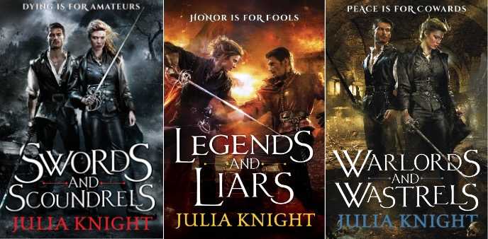 Covers for the Duellists books by Julia Knight - Swords and Scoundrels, Legends and Liars and Warlords and Wastrels