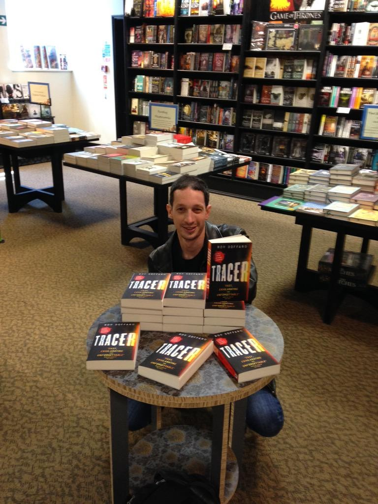 Rob Boffard with copies of Tracer
