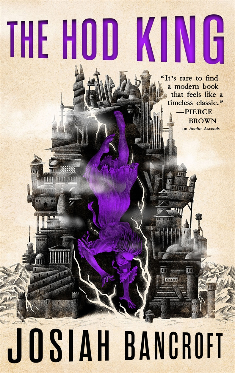 Book jacket for The Hod King by Josiah Bancroft. A woman falls through the rings of a many tiered city. Cracks in the city walls are visible.