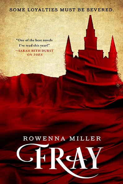 Book cover for Fray by Rowenna Miller. The silhouette of a castle is cut from a pool of red cloth.
